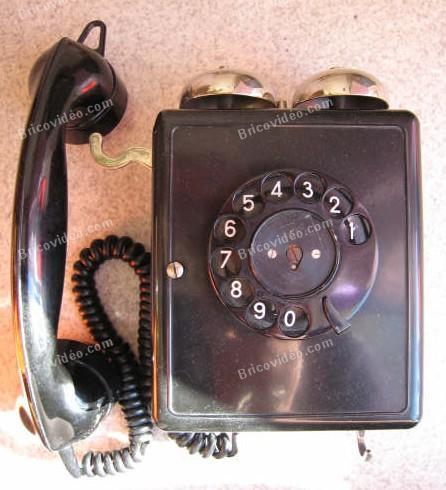 Photos branchement téléphone ancien bakélite
